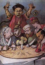 漫画中,世界强权正在分割中国这块大饼